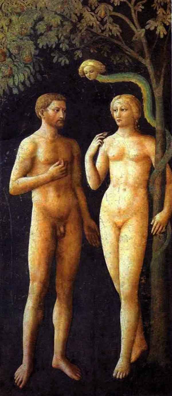 Adam and Eve, by Masolino da Panicale, 1425.