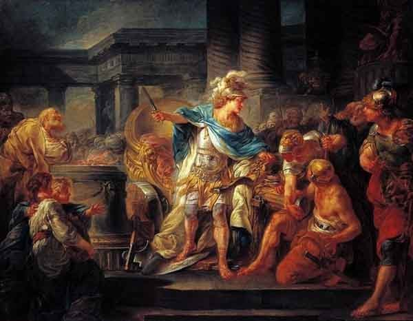 Alexander cuts the Gordian Knot, by Jean-Simon Berthelemy, 18th century.