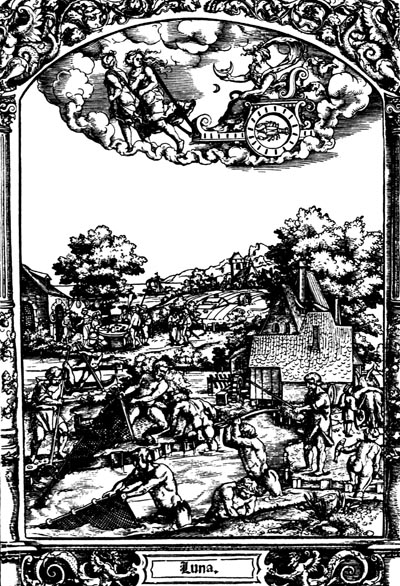 The Moon. Woodcut by Hans Sebald Beham, from the 1530's.
