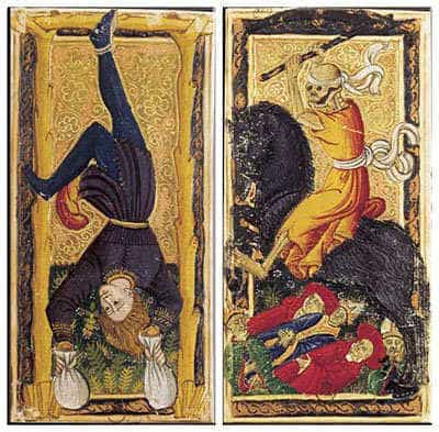 The Hanged and Death from the Charles VI Tarot.