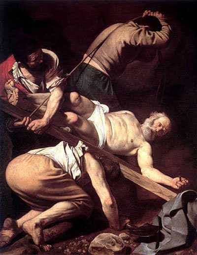 The Crucifixion of Peter. Painting by Caravaggio, 1601.