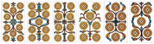 Pip cards from the Tarot of Marseille: Pentacles 10 to 5.