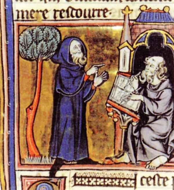 Merlin. Illumination from the early 13th century book Merlin, by Robert de Boron.