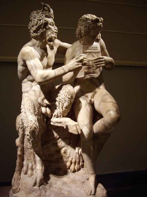 Pan and Daphnis. Roman copy of a Hellenistic sculpture.