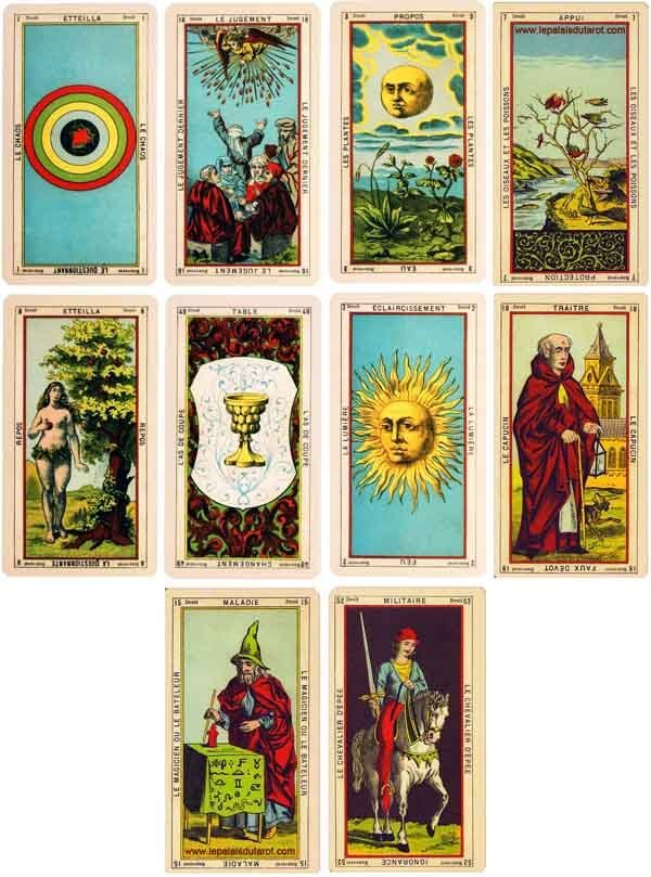 Cards from the Tarot of Etteilla.