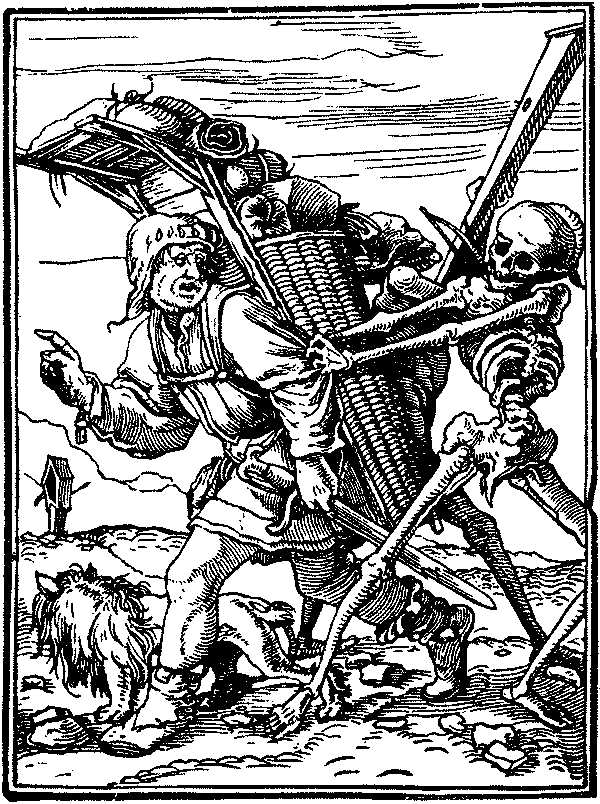 Death catching a pedlar. Illustration from Dance of Death by Hans Holbein the Younger, 1526.