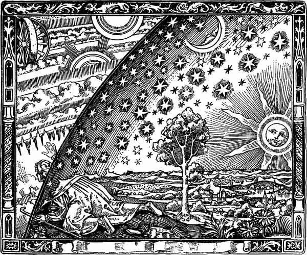 A traveler at the edge of the firmament. From The Atmosphere: Popular Meteorology, by Camille Flammarion, 1888.