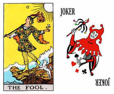 The Tarot Fool and the Joker playing card.