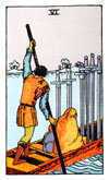 Tarot Minor Arcana card: Six of Swords