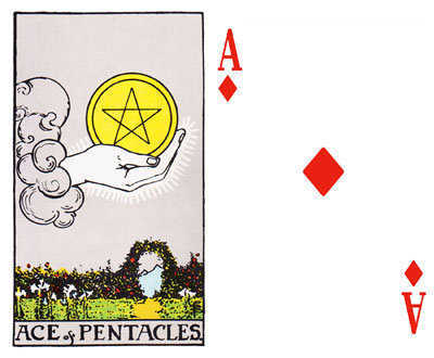 The Ace of Pentacles and the Ace of Diamonds.