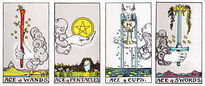 The four Aces of the Tarot Suits.