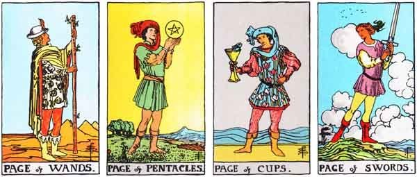 The four Tarot Pages.