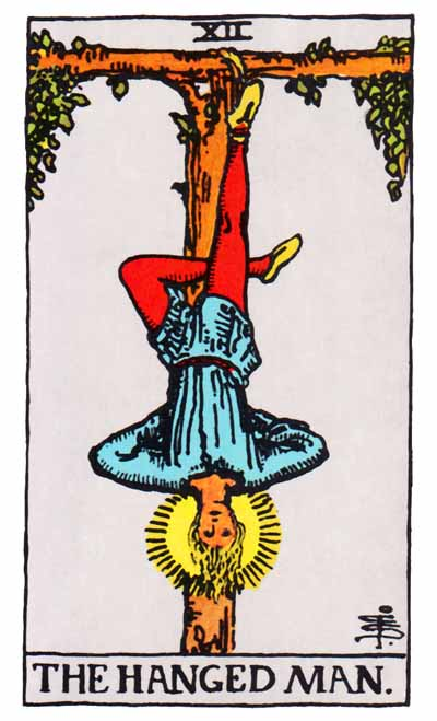 The Hanged Man Major Arcana Tarot card.