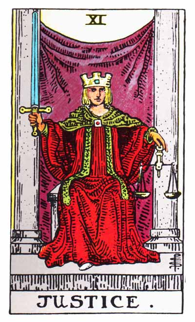 Justice Major Arcana Tarot card.