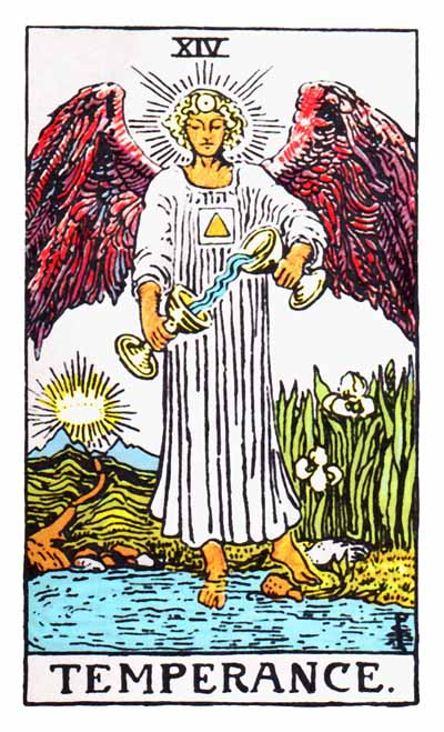 Temperance Major Arcana Tarot card.