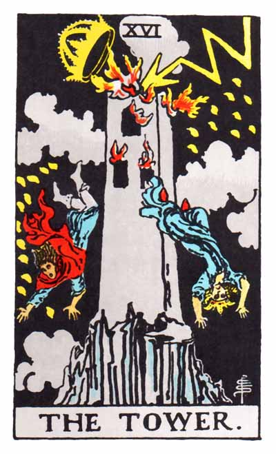 The Tower Major Arcana Tarot card.