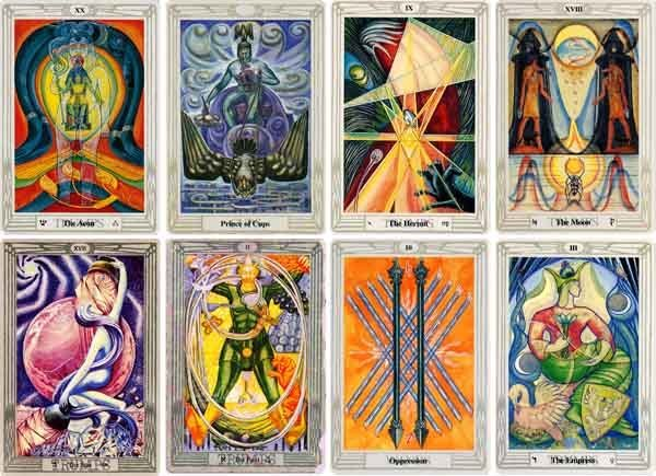 Cards from the Thoth Tarot.